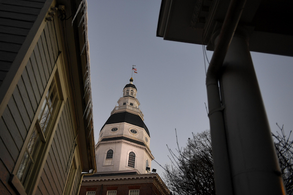 **FILE** The sun begins to rise over the Maryland State House on January 16, 2019 in Annapolis. (Photo by Katherine Frey/The Washington Post via Getty Images)