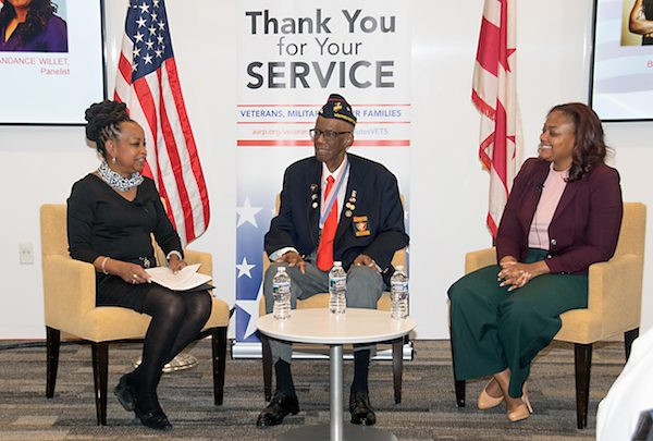 From left: Washington Informer Publisher Denise Rolak Barnes moderates a discussion with Marine Corps Chaplain Willie Woods and Navy veteran Candance Willet. (Shevry Lassiter/The Washington Informer)