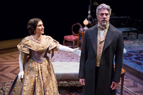 "Janet Hayatshahi (Elizabeth Almond) and James Whalen (Dr. Austin Sloper) star in ""The Heiress."" (C. Stanley Photography)"