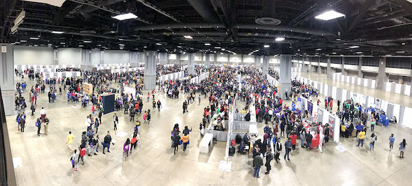 Over 16,000 high school students and parents fill the Walter E. Washington Convention Center in Northwest on Feb. 23 during the 17th annual HBCU Festival presented by the Alfred Street Baptist Church. (Shevry Lassiter/The Washington Informer)