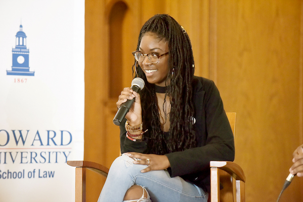 "Student activist Aalayah Eastmond, a senior at Marjory Stoneman Douglass High School in Parkland, Fla., who survived the mass shooting that took place there last year, participates in the 3rd Annual C. Clyde Ferguson Jr. Symposium ""Triggered: Guns, Law & Politics."" (Photo courtesy/HUNews)"