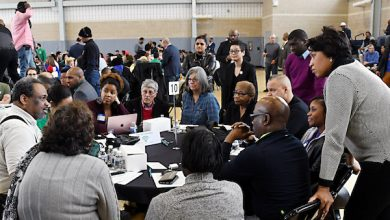 D.C. Mayor Muriel Bowser speaks to residents attending her administration's Budget Engagement Forum in Northeast on Feb. 23, where they had a chance to voice their priorities to the mayor before the fiscal 2020 budget is finalized. (Roy Lewis/The Washington Informer)