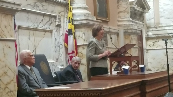 Maryland Chief Judge Mary Ellen Barbera gives the annual State of the Judiciary address in the House of Delegates chamber in Annapolis on Feb. 6 as Senate President Thomas V. Mike Miller Jr. (left) and House Speaker Michael Busch listen. (William J. Ford/The Washington Informer)