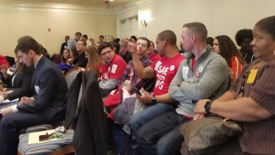 Photo of Dozens Speak Out on Fight for $15 Legislation