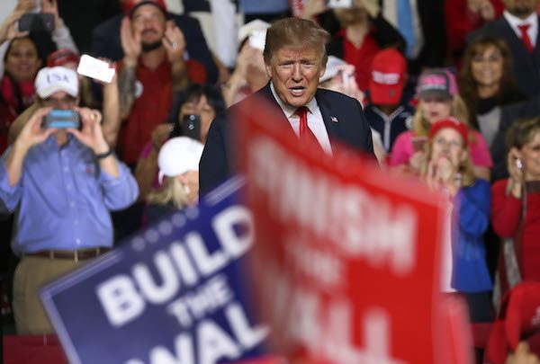 President Donald Trump speaks during a rally at the El Paso County Coliseum on Feb. 11, 2019, in El Paso, Texas. Trump continues his campaign for a wall to be built along the border as the Democrats in Congress are asking for other border security measures. (Joe Raedle/Getty Images)