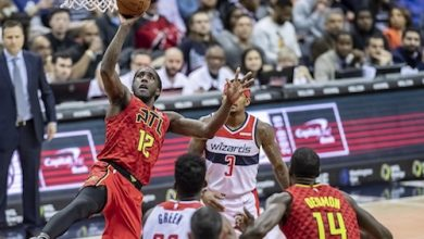 Atlanta Hawks forward Taurean Prince shoots a one-hand floater in the second half of the Hawks' 137-129 victory against the Washington Wizards at Capital One Arena in D.C. on Feb. 4. (Yusuf Abdullah/The Washington Informer)