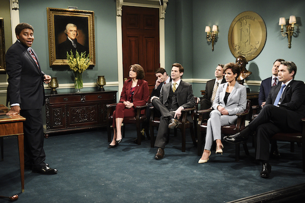 "From left: Kenan Thompson, Cecily Strong, Pete Davidson, Mikey Day, Kyle Mooney, host Halsey, Alex Moffat, and Beck Bennett as Virginia state officials during the ""State Meeting"" sketch on ""Saturday Night Live"" on Feb. 9, 2019. (Will Heath/NBC/NBCU Photo Bank via Getty Images)"