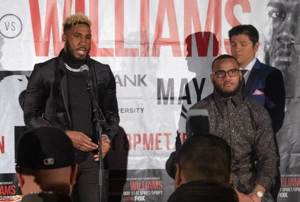 """Undefeated and unified 154-pound champion Jarrett """"Swift"""" Hurd (left) of Accokeek, Md., will defend his WBA/IBF/IBO championships against Julian """"J-Rock"""" Williams of Philadelphia on May 11 at George Mason University's Eagle Bank Arena in Fairfax, Va. (Shevry Lassiter/The Washington Informer)"""