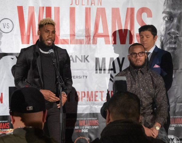 "Undefeated and unified 154-pound champion Jarrett ""Swift"" Hurd (left) of Accokeek, Md., will defend his WBA/IBF/IBO championships against Julian ""J-Rock"" Williams of Philadelphia on May 11 at George Mason University's Eagle Bank Arena in Fairfax, Va. (Shevry Lassiter/The Washington Informer)"