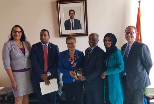 A U.S. congressional delegation consisting of Reps. Karen Bass, Ilhan Omar and Joe Negues visits Eritrea as Washington seeks closer ties with the Horn of Africa country. (U.S. Embassy Asmara Eritrea)