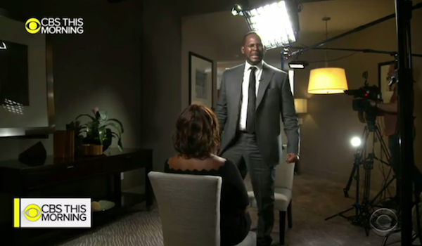 "Singer R. Kelly grows emotional during a sit-down interview with ""CBS This Morning"" co-host Gayle King on March 5 to address his recent arrest on sexual assault charges. (Screen grab courtesy of ""CBS This Morning"")"