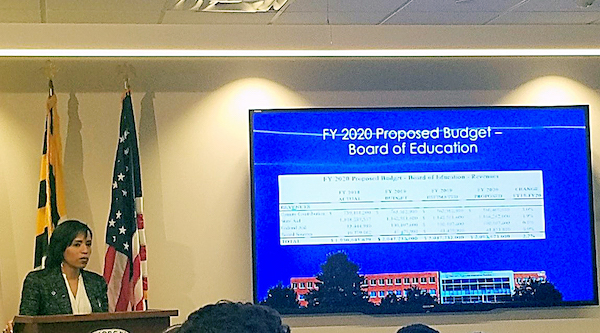 Prince George's County Executive Angela Alsobrooks reviews her fiscal year 2020 budget proposal March 14 at the Wayne K. Curry Administration Building in Largo. (William J. Ford/The Washington Informer)