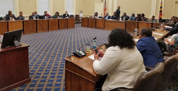 The Legislative Black Caucus of Maryland holds a March 21 meeting on state legislation for police reforms. (William J. Ford/The Washington Informer)