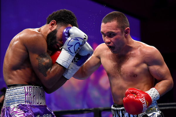 Sergey Lipinets punches Lamont Peterson during their welterweight fight at The Theater at MGM National Harbor on March 24, 2019, in Oxon Hill, Maryland. (Photo by Will Newton/Getty Images)
