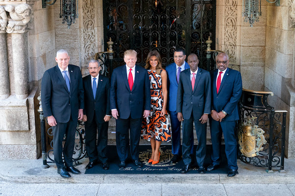President Donald J. Trump and First Lady Melania Trump welcome Caribbean leaders Friday, March 22, 2019, to Mar-a-Lago in Palm Beach, Fla., from left, Prime Minister Allen Chastanet of Saint Lucia; President Danilo Medina Sanchez of the Dominican Republic; Prime Minister Andrew Holness of Jamaica; President Jovenel Moise of the Republic of Haiti; and Prime Minister Hubert Minnis of the Commonwealth of the Bahamas. (Official White House Photo by Tia Dufour)
