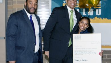 Photo of Ballou, Family Bask in Scholarship Winner's Triumph