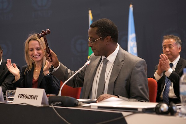**FILE** The President of the 28th meeting of the Parties to the Montreal Protocol and Rwanda's minister of Natural Resources Dr Vincent Biruta, hits a hummer as a symbol of the adoption of the Kigali amendment on October 15, 2016 in Kigali. The world community agreed today to phase out a category of dangerous greenhouse gases widely used in refrigerators and air conditioners. Nearly 200 countries agreed to end production and consumption of so-called hydrofluorocarbons (HFCs) under an amendment to the 1987 Montreal Protocol on protecting the ozone layer. (CYRIL NDEGEYA/AFP/Getty Images)