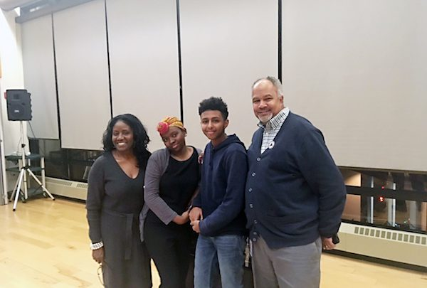 From left: Linda Wharton Boyd, former director of communications for Marion Barry and chair of the Sankofa Archive Commission, oratorical contest winners Kaliah Smith and Nathnael Haile, and Kemry Hughes, of the Mayor's Youth Leadership Institute (Courtesy photo)