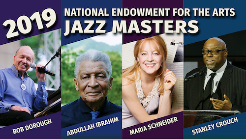 From left: Bob Dorough (photo by Garth Woods), Abdullah Ibrahim (photo by Marina Umari), Maria Schneider (photo by Jimmy and Dena Katz), and Stanley Crouch (photo by Frank Stewart, courtesy of Jazz at Lincoln Center)