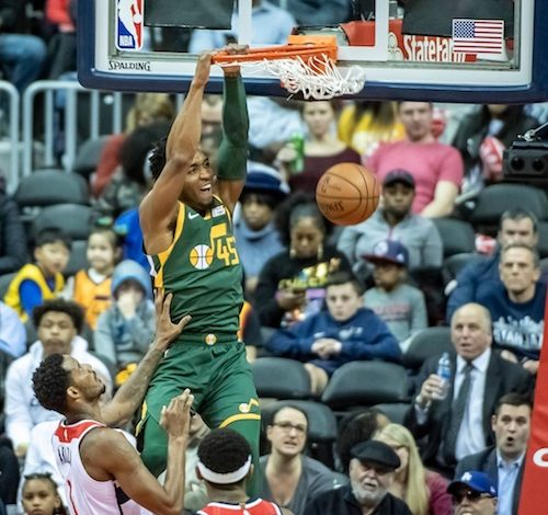 Utah Jazz shooting guard Donovan Mitchell dunks in two of team-leading 19 points in the second of Utah's 116-95 victory over the Washington Wizards at Capital One Arena in D.C. on March 18. (Yusuf Abdullah)