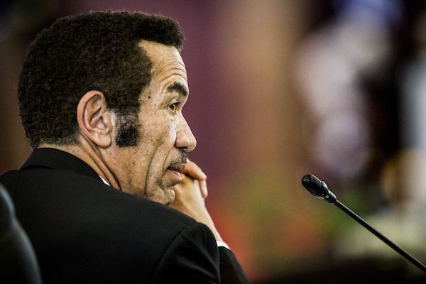 **FILE** President Ian Khama of the Republic of Botswana is pictured at the 37th Southern African Development Community (SADC) Summit of Heads of State and Government at the OR Tambo Building in Pretoria on August 19, 2017. The theme of the two-day Summit attended by heads of state from the 15 member nations is: partnering with the private sector in developing industry and regional value chains. / AFP PHOTO / GULSHAN KHAN (Photo credit should read GULSHAN KHAN/AFP/Getty Images)