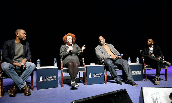 "From left: Ta-Nehisi Coates, former staff writer at The Atlantic, Nikole Hannah-Jones, staff writer for the New York Times Magazine, Jelani Cobb, staff writer at The New Yorker, and Anthony Brown Jr., moderator and independent journalist, participate in the ""Power of the Pen"" panel discussion at Cramton Auditorium at Howard University on March 6. (Justin Knight/Howard University)"