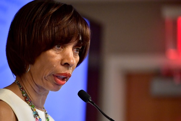 **FILE** Baltimore Mayor Catherine Pugh speaks at a session on housing affordbility at the U.S. Conference of Mayors in Boston on June 8, 2018. (Photo by Paul Marotta/Getty Images)