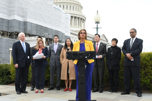 Rep. Robin Kelly (D-Ill.) talks about her bill requiring the U.S. surgeon general to issue an annual report on gun violence during a press conference in front of the U.S. Capitol in D.C. on April 2. (Roy Lewis/The Washington Informer)