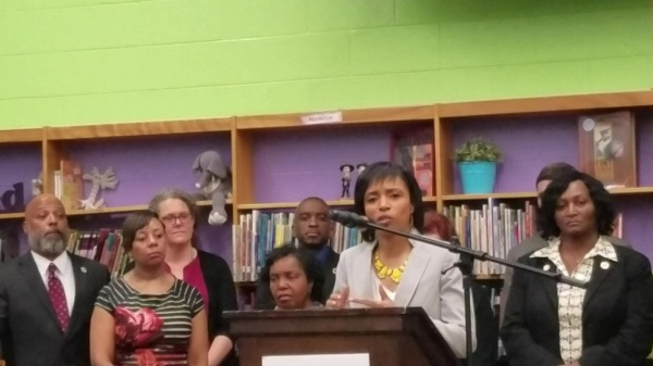 Prince George's County Executive Angela Alsobrooks speaks during an April 12 press conference at Beacon Heights Elementary School in Riverdale alongside state lawmakers from the county and members of the county council. (William J. Ford/The Washington Informer)