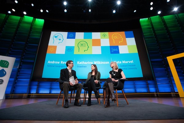 National Geographic's Andrew Revkin, Project Drawdown's Katharine Wilkinson, and NASA's Kate Marvel have a climate conversation. (Courtesy of The Medium Corp.)