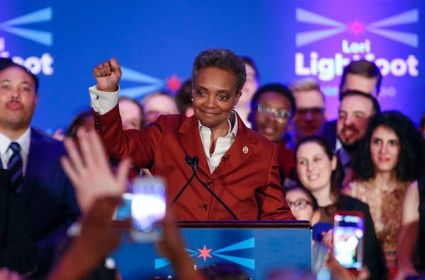 Chicago Mayor-elect Lori Lightfoot arrives on stage before speaking during the election night party in Chicago, Illinois on April 2, 2019. (Kamil Krzaczynski/AFP/Getty Images)