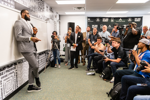 **FILE** LeBron James addresses the media after the opening ceremonies of the I Promise School on July 30, 2018 in Akron, Ohio. The School is a partnership between the LeBron James Family foundation and the Akron Public School and is designed to serve Akron's most challenged students. (Jason Miller/Getty Images)