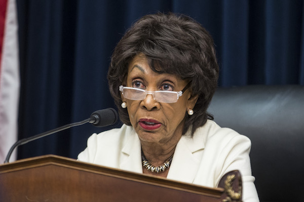 **FILE** House Financial Services Committee Chairman Maxine Waters (D-Calif.) speaks during a House Financial Services Committee Hearing on Capitol Hill on April 9, 2019 in Washington, DC. U.S. Secretary of Treasury Steve Mnuchin is testifying on the state of the international financial system. (Photo by Zach Gibson/Getty Images)