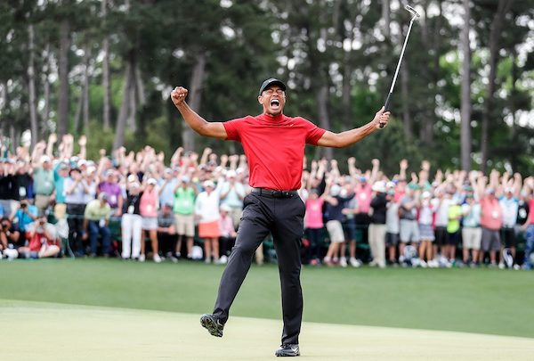 Tiger Woods celebrates winning the 2019 Masters during the final round of the Masters Tournament at Augusta National Golf Club, Sunday, April 14, 2019, in Augusta, Georgia. (Courtesy of The Augusta Chronicle)