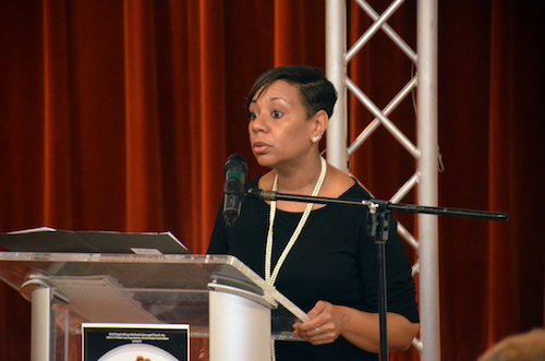"Prince George's County Public Schools interim Chief Executive Officer Monica Goldson takes part in ""Coffee and Conversations"" at Reid Temple African Methodist Episcopal Church in Glenn Dale, Maryland, on April 13. (Anthony Tilghman/The Washington Informer)"