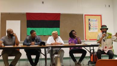 Charles View, Tone P, Wanda Henderson, Sam P.K. Collins and Senghor Baye at Lamond-Riggs Neighborhood Library on April 14 (Courtesy photo)
