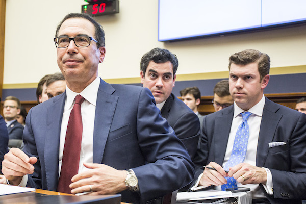 Treasury Secretary Steve Mnuchin attends a House Financial Services Committee Hearing on Capitol Hill on April 9, 2019. Mnuchin is testifying on the state of the international financial system. (Zach Gibson/Getty Images)