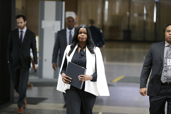**FILE** Cook County State's attorney Kim Foxx arrives to speak with reporters and details the charges against R. Kelly's first court appearance at the Leighton Criminal Courthouse on February 23, 2019 in Chicago, Illinois. (Photo by Nuccio DiNuzzo/Getty Images)