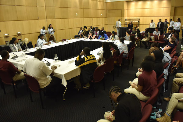 Students discuss their experience of living in the District of Columbia at a session sponsored by Pathways 2 Power, a student group from the Thurgood Marshall Academy Public Charter School in Ward 8. (Rob Roberts/The Washington Informer)
