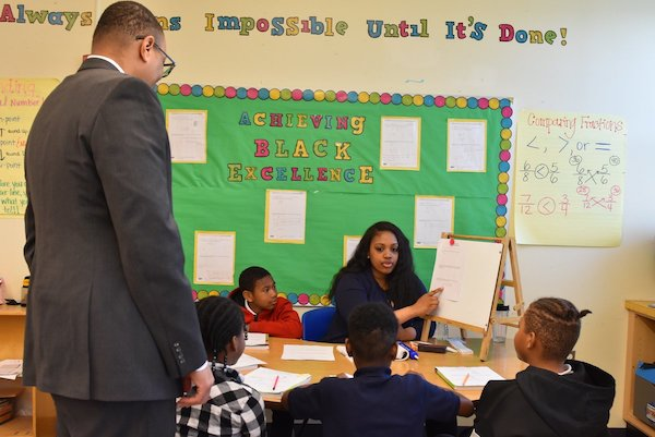 DCPS Chancellor Lewis Ferebee visits a math class in April to promote Math and Statistics Awareness Month. (DCPS photo)