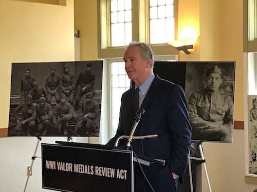 Maryland Sen. Chris Van Hollen speaks in Cambridge on April 18 to introduce WWI Valor Medals Review Act. (John Muller/Special to The Washington Informer)
