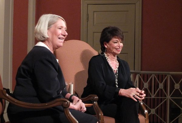 """Anita Dunn (left), who served as White House communications director for the Obama administration and is now managing director at SKDKnickerbocker, interviews colleague and former Obama senior adviser Valerie Jarrett about her book """"Finding My Voice"""" at Sixth and I Historic Synagogue on April 8. (Bruce Guthrie for Sixth & I)"""