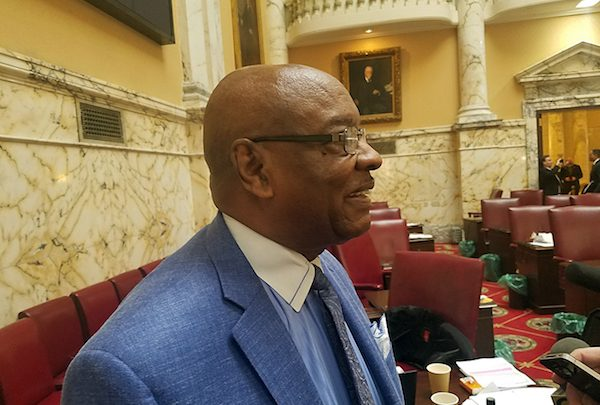Maryland state Sen. Obie Patterson (D-District 26) of Fort Washington speaks with reporters after a March 27 vote on aid-to-dying legislation. (William J. Ford/The Washington Informer)