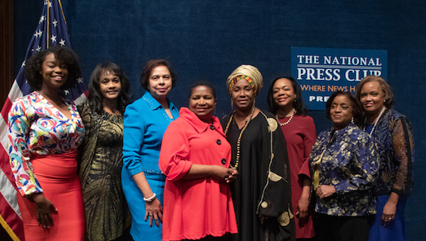 In celebration of Women's History Month and the 192ndanniversary of the Black Press, Hazel Trice Edney presented the 2019 Stateswomen for Justice luncheon and panel discussion at the National Press Club in Northwest on Friday, March 29. Trice Edney with panelists (L-R): Kezia Williams - CEO of the Black upstart, Dr. Lezli Baskerville - president and CEO of the National Association for Equal Opportunity in Higher Education (NAFEO), Dr. E. Faye Williams - national chair, National Congress of Black Women, Hazel Trice Edney, Dr. Princess Asie Ocansey – Nekotech Center of Excellence, Kristen Clarke, president and executive director of the Lawyers Committee for Civil Rights Under Law, Janice Mathis, executive director of the National Council of Negro Women, and Kim Sanders, president and CEO of the National Bankers Association. (Shevry Lassiter/The Washington Informer)