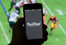 **FILE** The FanDuel Inc. logo is arranged for a photograph on an Apple Inc. iPhone in Washington, D.C., on Oct. 4, 2015. (Andrew Harrer/Bloomberg via Getty Images