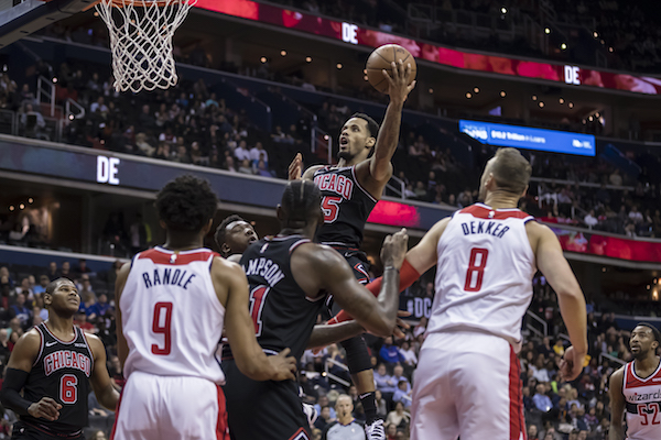 Walt Lemon Jr. (25) of the Chicago Bulls goes to the basket against the Washington Wizards during the second half at Capital One Arena in Washington, D.C., on April 3, 2019. (Photo by Scott Taetsch/Getty Images)