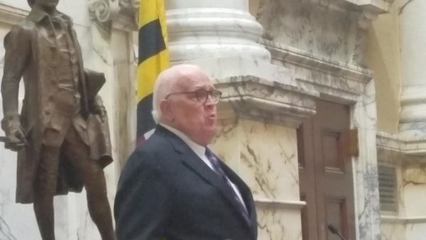 Maryland Senate President Thomas V. Mike Miller Jr. talks about late House Speaker Michael Busch on April 8, the last day of the 2019 Maryland General Assembly, in the Senate chambers. Busch, 72, died the day prior. (William J. Ford/The Washington Informer)
