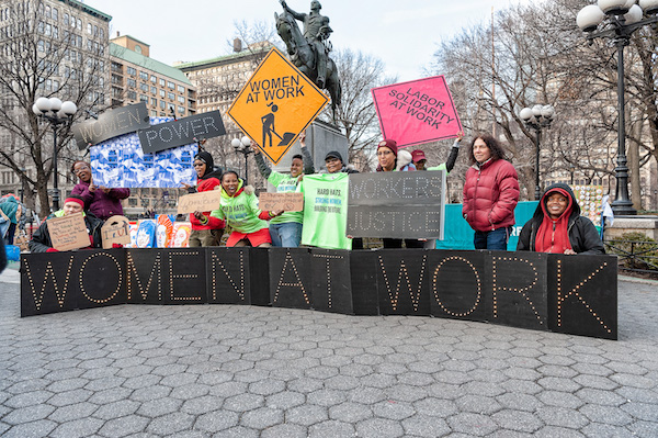 **FILE** Supporters of women's rights gather in New York City's Union Square to celebrate International Women's Day on March 8, 2019. (Gabriele Holtermann-Gorden/Pacific Press/LightRocket via Getty Images)
