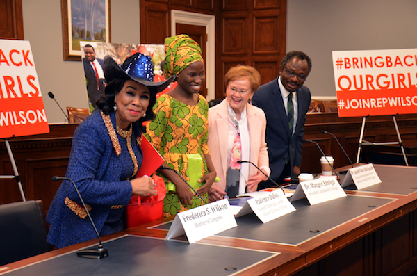 From left: Rep. Frederica Wilson (D-Fla.), former Chibok girl and Dickson College student Patience Bulus, Margee Ensign, Dickinson College president, and Jacob Udo-Udo Jacob, visiting international scholar at Dickinson College participate in a discussion on Capitol Hill on April 9. (Anthony Tilghman/The Washington Informer)