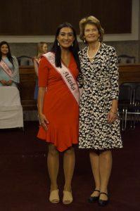 Alaska Sen. Lisa Murkowski (right) escorts Andrea Wagner, the state's Cherry Blossom Princess. (Carl Bouchard/NCSS)
